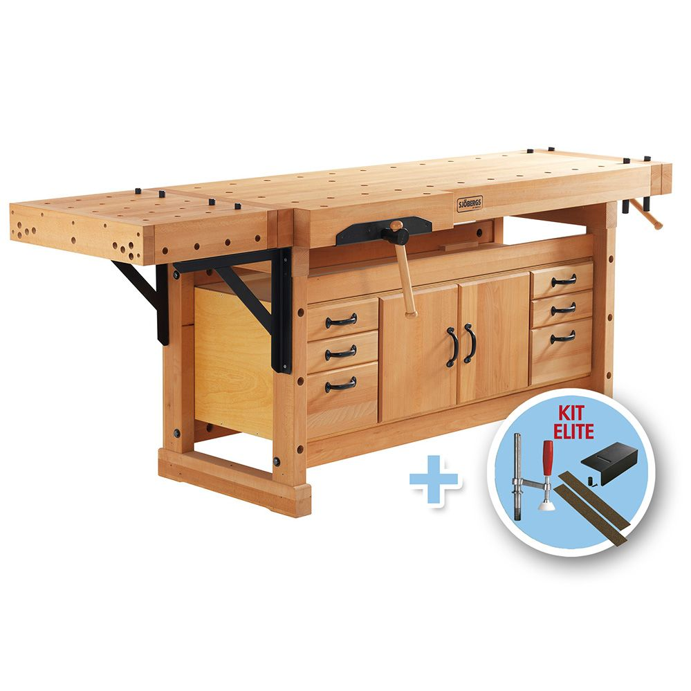Sjobergs Elite 2500c Workbench With Cabinet Smo4 And Accessory Kit Rockler Woodworking And Hardware