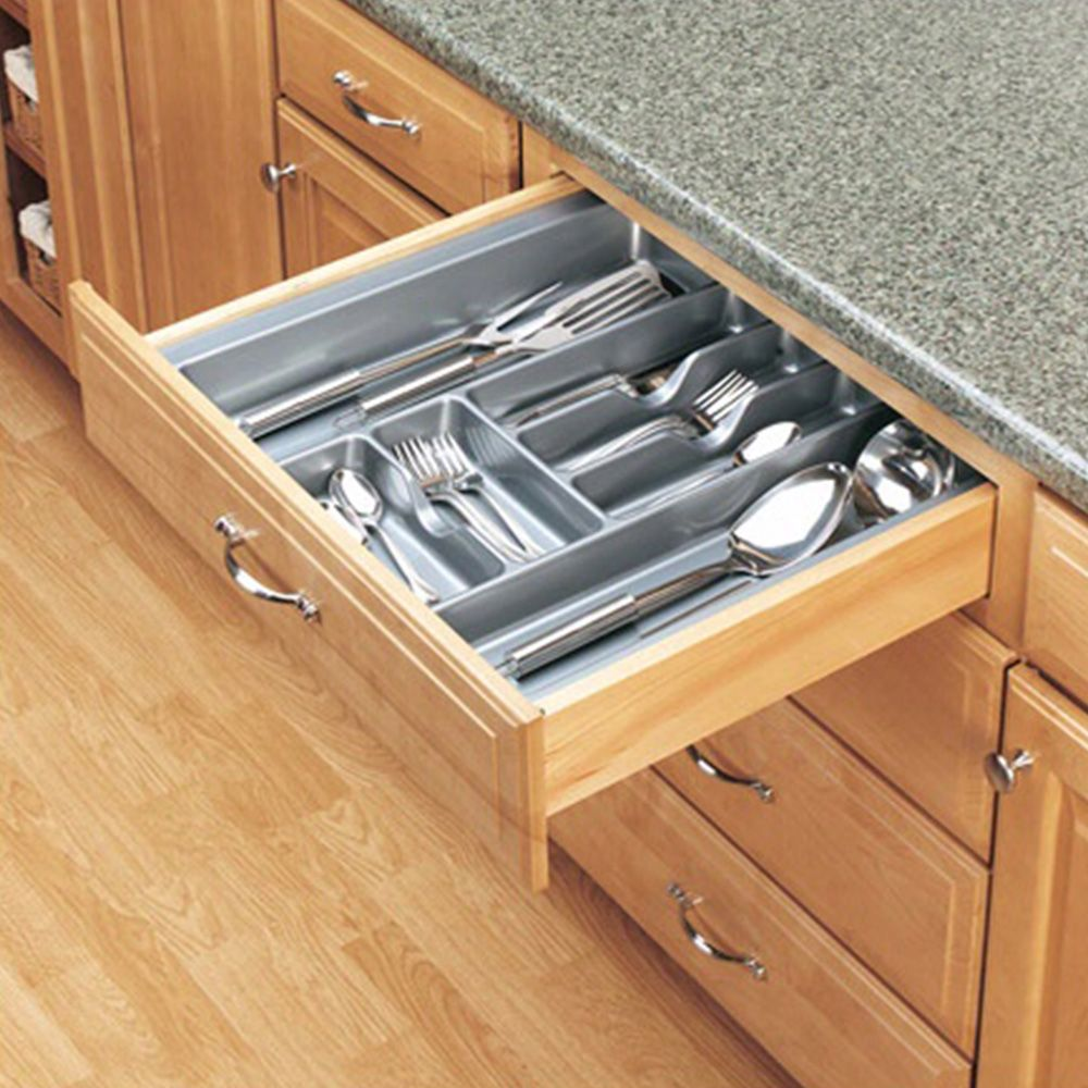 Kitchen Drawer Organizers Rev A Shelf Ct And Gct Series Metallic Silver Finish Rockler Woodworking And Hardware