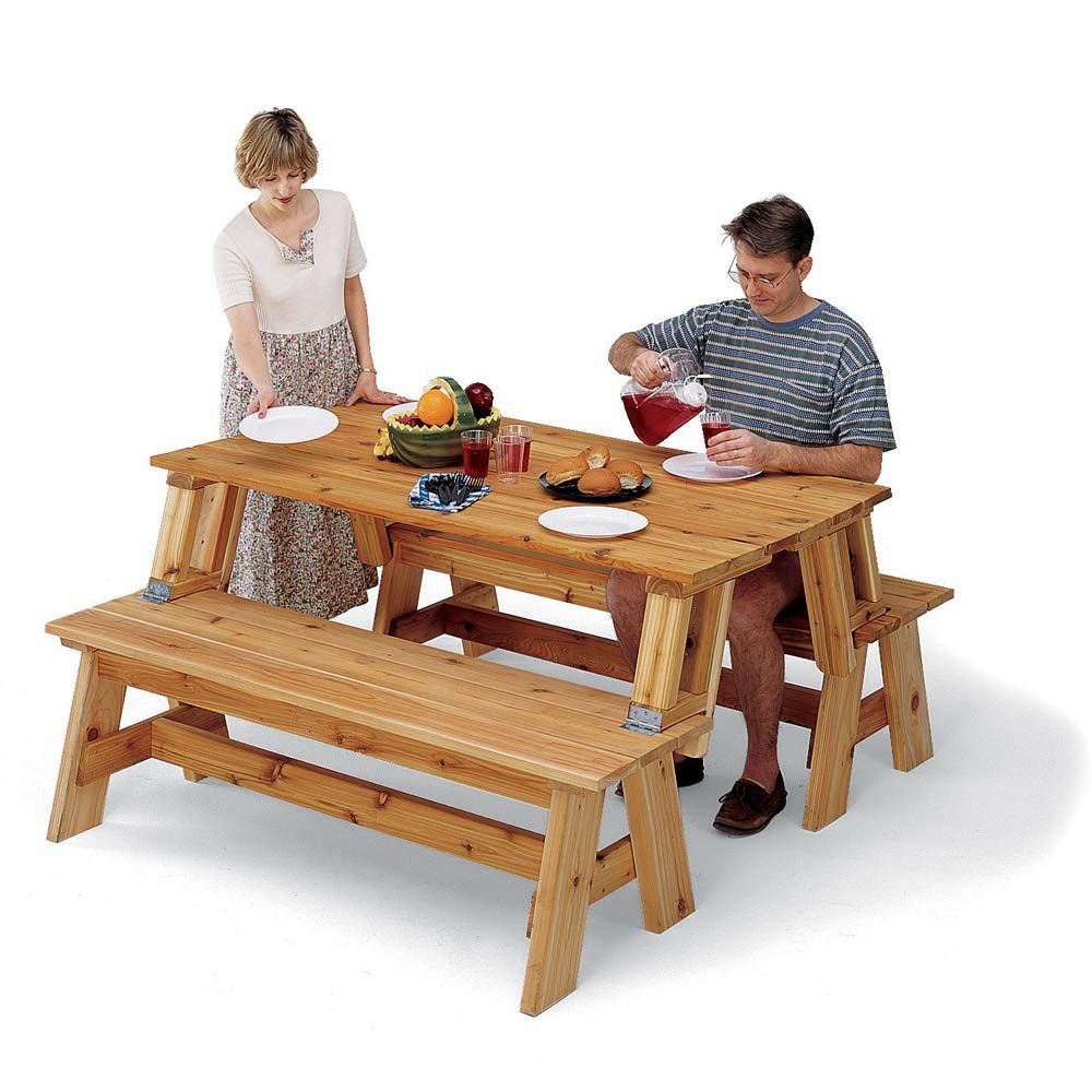 Picnic Table and Bench Combo Plan | Rockler Woodworking ...
