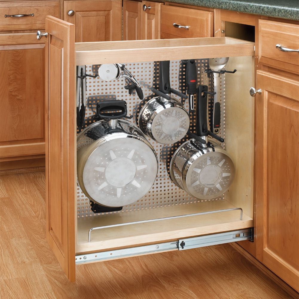 Rev A Shelf Pullout Organizer W/Stainless Steel Panel For Base Cabinets 444  Series