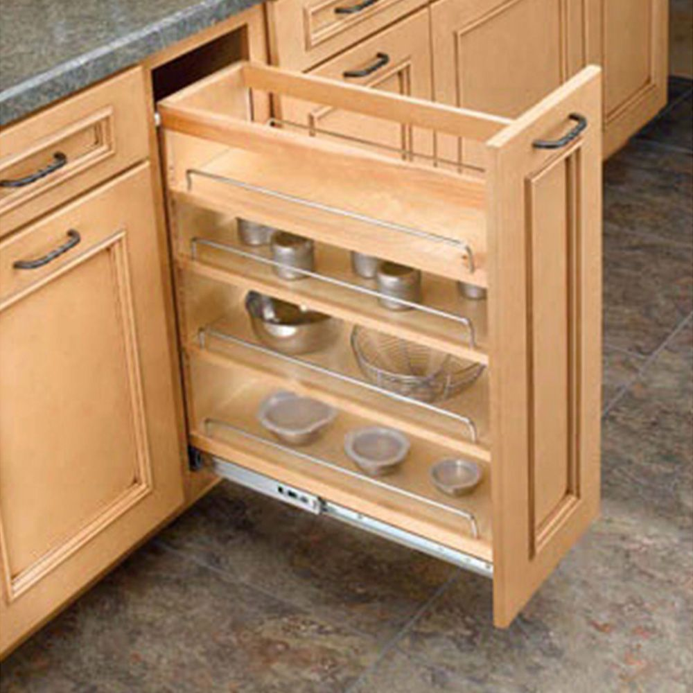 Frameless Kitchen Cabinet Woodworking Plans: Base Cabinet Pullout Organizers, Rev-a-Shelf 448 Series