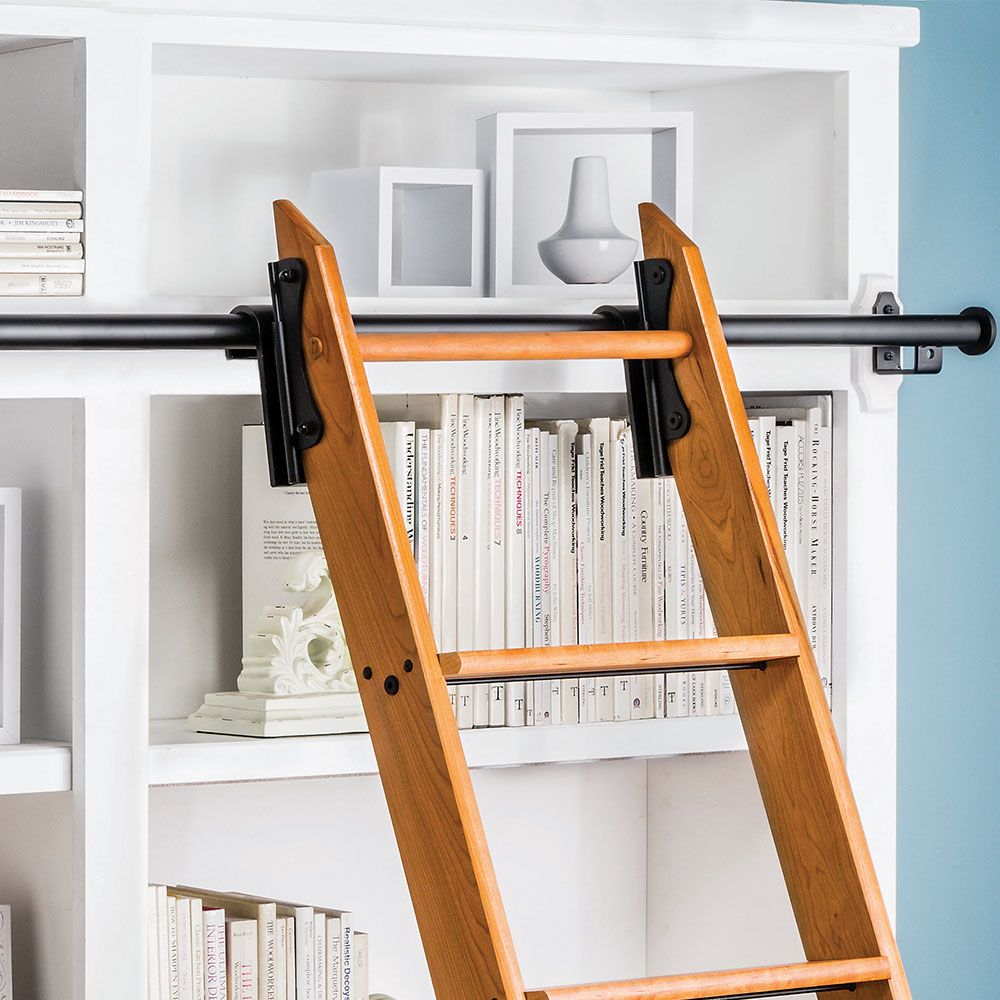 Rockler 8 Foot Classic Rolling Library Ladder Kit Hardware With 12 Feet Of Track Satin Black