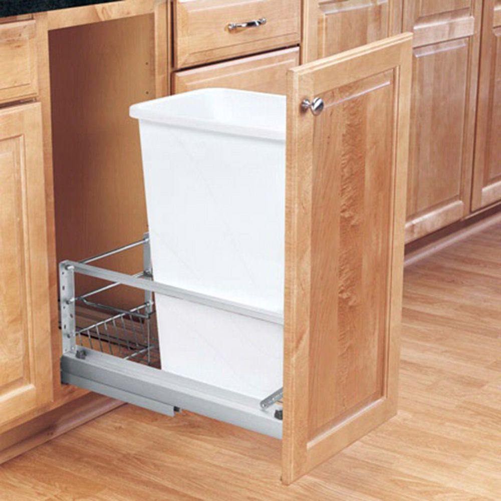 Single Aluminum Pullout Waste Containers Rev A Shelf 5349 Series