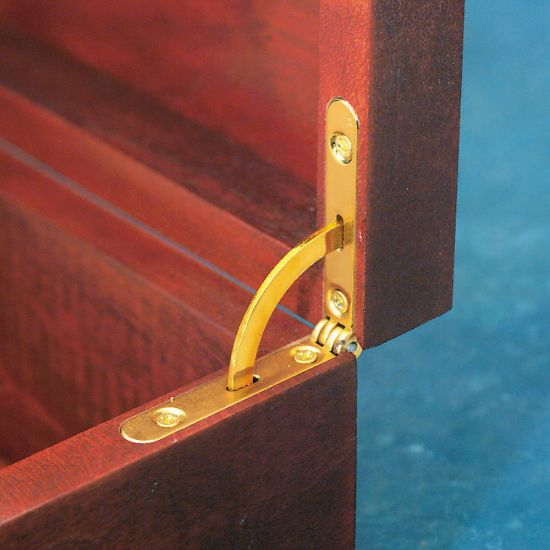 Solid Brass Side Rail Hinges with Lid Support