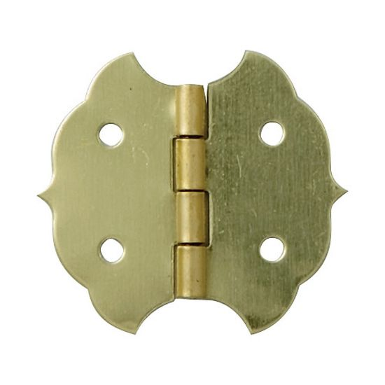 "Brass-Plated Decorative Butterfly Small-Box Fastener Hinge 1 1/8""L x 1 1/4""W"