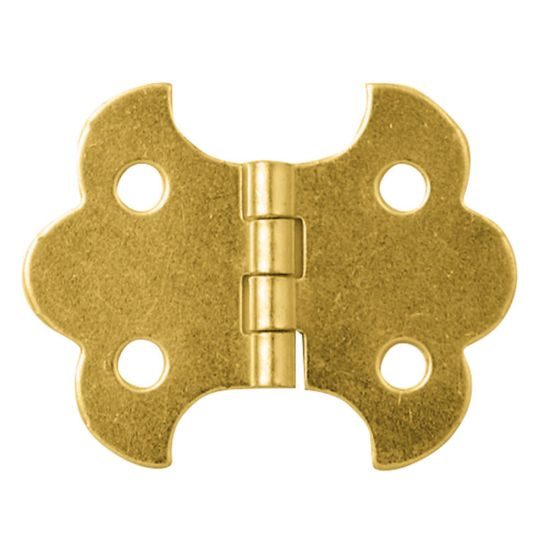 """Brass-Plated Butterfly Small-Box Fastener Hinge 1 1/4""""L x 5/8""""W"""