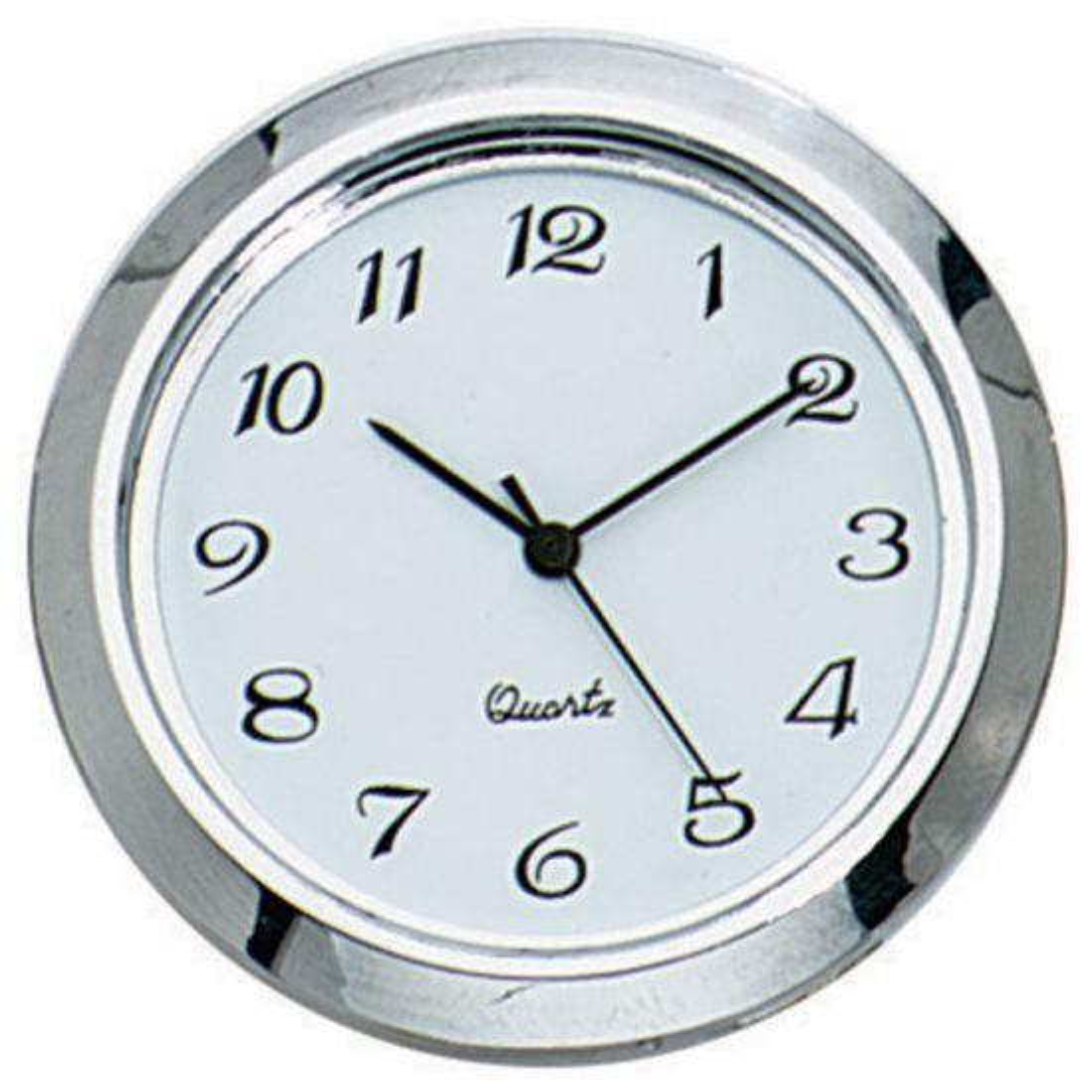 Small Decorator Clock Fitting, Silver Trim