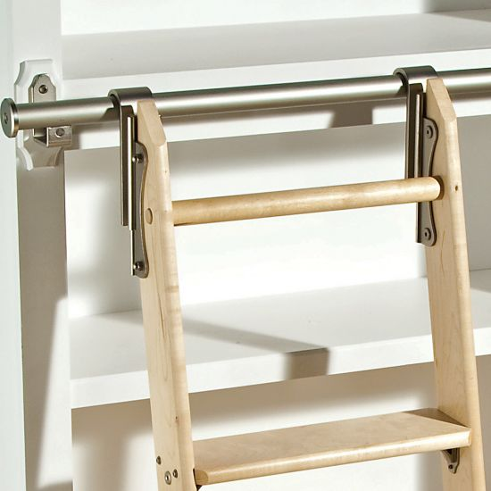 Rockler Classic Rolling Library Ladder - Ladder Hardware, Satin Nickel
