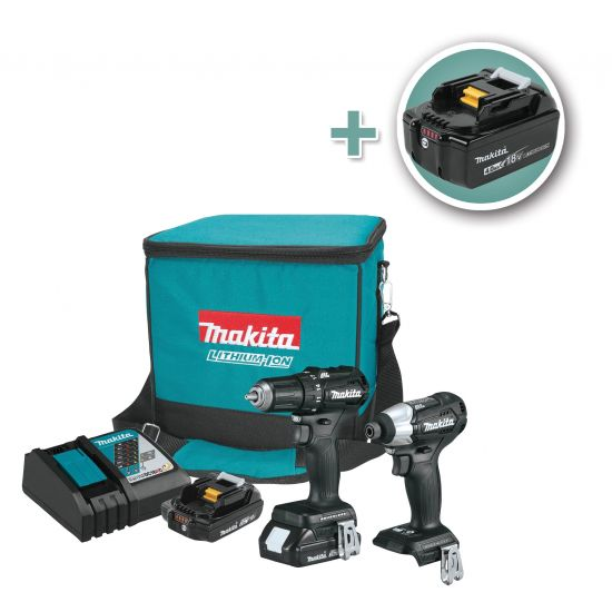Makita CX200RB 18V LXT Lithium-Ion Sub-Compact Brushless Cordless 2-Piece Combo Kit with (2) 2.0Ah and (1) 4.0Ah Batteries
