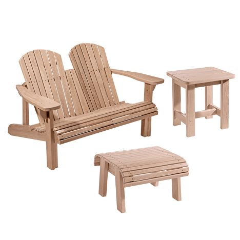 Adirondack Bench Plans And Templates With Foot Stool And Side Table Plans Rockler Woodworking And Hardware