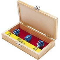 Rockler Vertical Panel Router Bit Set With Wooden Case