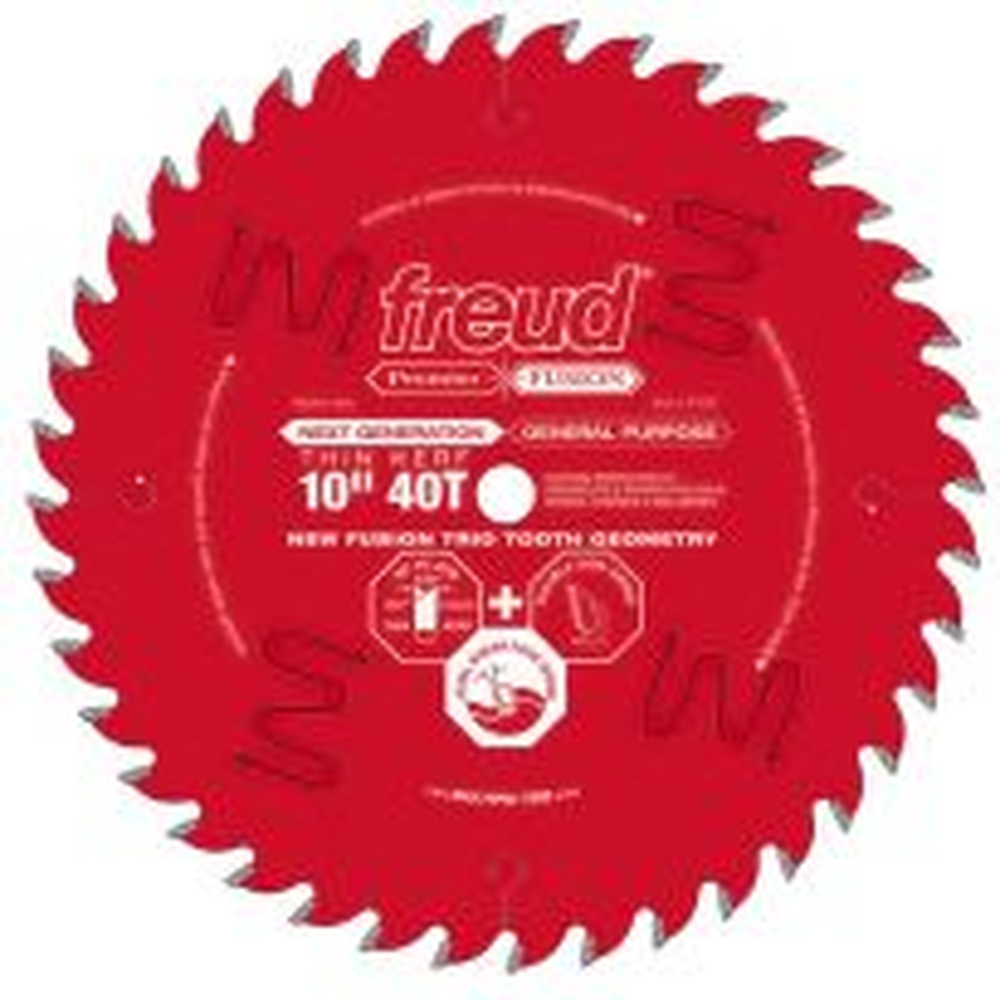 "Freud® 10"" x 40T Premier Fusion Thin Kerf General Purpose Saw Blade - P410T"