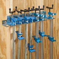 Store up to nine pipe clamps or aluminum bar clamps