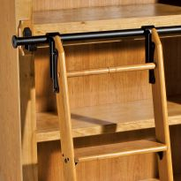 Rockler Classic Rolling Library Ladder - Ladder Hardware, Satin Black