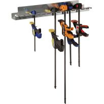 Silhouette shot of the Rockler Quick-Release Bar Clamp Rack