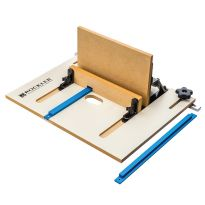 Larger pieces can be supported easily by adding a 1/2'' piece of material to the left and right side of the jig platform.