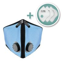 M2 Mesh Face Masks with Bonus 3-Pack HEPA Filters, Sky Blue