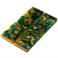 Knife Scales, Green/Gold Resin