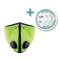 Small M2 Mesh Face Mask with 3-Pack F2 HEPA Filters, Safety Green