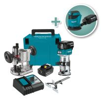 Makita 18V Cordless Lithium-Ion Compact Router Kit with 5'' Random Orbit Sander