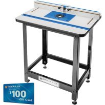 Rockler High Pressure Laminate Router Table, Fence, Stand and Non-Drilled Phenolic Plate with Large (4-3/8'' Dia.) Insert