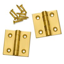"Polished Brass Fixed Pin Extruded Hinges 1-1/2"" L x 1-1/2"" W"