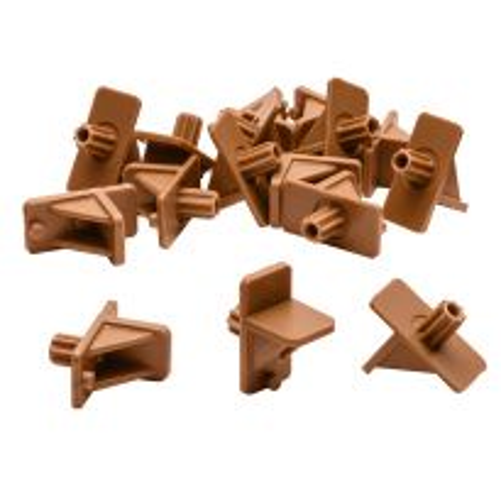 Tan Plastic Shelf Supports, 1/4'' Peg, 16-Pack
