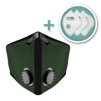 Small M2 Mesh Face Mask with Bonus 3-Pack HEPA Filters, Forest Green