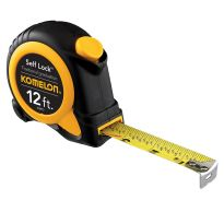 The Self-Lock Speed Mark tape measure features a unique self-locking mechanism—just pull the blade out and it stays in place, then push the button to retract.
