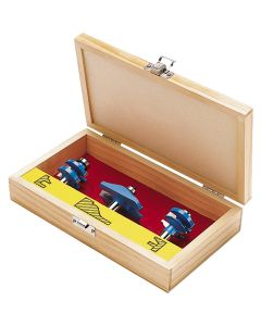 Rockler Horizontal Panel Router Bit Set With Wooden Case