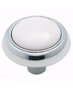 White / Polished Chrome Hardware Knob