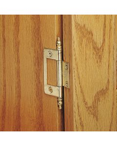 Mount one leaf of this hinge to the cabinet edge and the other to the back of the door or lid