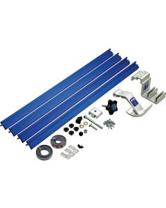 Kit includes four 2' sections of Top Trak, two self-adhesive tapes, flipstop, production stop and mounting hardware.