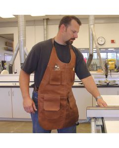 Comfortable leather apron with cross shoulder straps rest on you back - not your neck