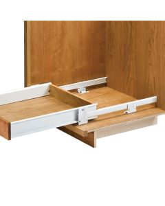 Slides act as the drawer�s side panels for faster, easier construction.