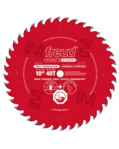 "Freud® 10"" x 40T Premier Fusion Thin Kerf General Purpose Saw Blade - P410T"