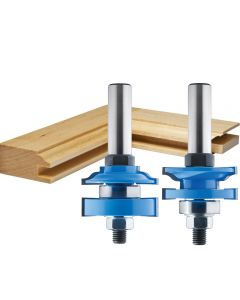 """Rockler 2-Pc. Ogee Stile and Rail Router Bit Set - 1-5/8"""" Dia x 1"""" H x 1/2"""" Shank"""