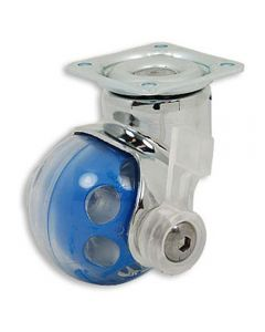 Ball Wheel Caster with Swivel Plate, with Brake, Blue
