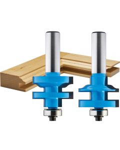 """Rockler Ogee Stile and Rail Router Bit Set - 1-3/8"""" Dia x 1"""" H x 1/2"""" Shank"""
