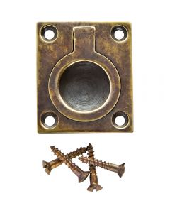 Antique Brass Rectangular Recessed Ring Pull