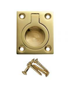 Polished Brass Rectangular Recessed Ring Pull