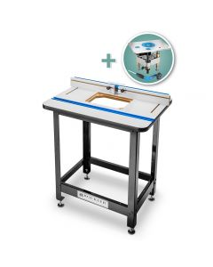 Rockler High Pressure Laminate Router Table Top, Fence, Steel Stand & Pro Lift Router Lift
