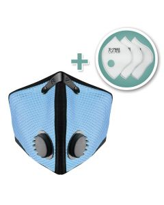 Small M2 Mesh Face Mask with Bonus 3-Pack HEPA Filters, Sky Blue