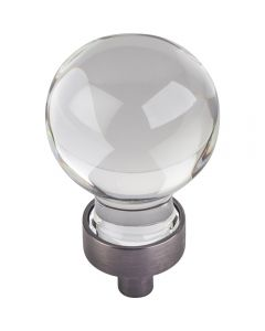 Brushed Pewter Harlow Glass Cabinet Knob 1-1/16'' D