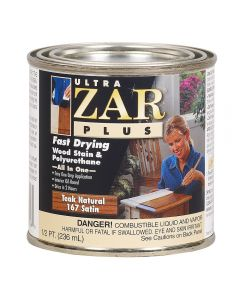 Ultra ZAR® Plus Wood Stain, Satin, 167 Teak Natural, Half-Pint