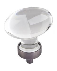 Brushed Pewter Harlow Glass Cabinet Knob 1-5/8'' D