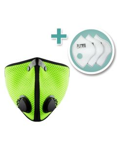 Large M2 Mesh Face Mask with 3-Pack F2 HEPA Filters, Safety Green