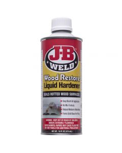J-B Wood Restore Liquid Hardener seals and reinforces rot-damaged wood, creating a stable base for later filling with Repair Putty (#63340, sold separately) or Epoxy Wood Repair (#68616, sold separately).