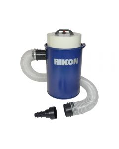 1.5 HP dust extractor #63-110 is a small canister-type vacuum system with a 12 Gallon capacity, and plenty of power.