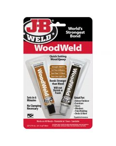 A two-part epoxy formulated specifically for wood repairs—turns to a light tan color, and can be shaped and sanded after curing.